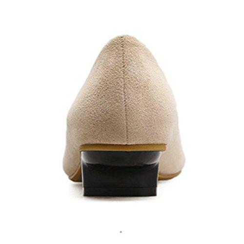 Mocassini Giy Donna In Pelle Scamosciata Con Punta Squadrata Mocassini Slip-on Classic Casual Scarpe Mocassini Con Tacco Basso Beige