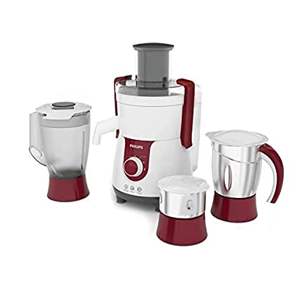 (Renewed) Philips Viva HL7715 700-Watt Juicer Mixer Grinder with 3 Jars (Pistil Red/White)
