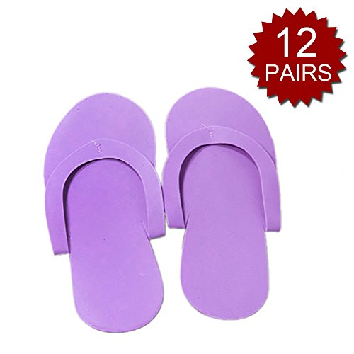 Aspire Wholesale Disposable Foam Pedicure Slippers Pack of 12 Pairs Salon Spa Flip Flop Hotel Use-Purple-60 Packs by Aspire