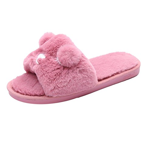 Tenworld Winter Warm Women Indoor Shoe Fluffy Faux Fur Rabbit Flat House Slipper (7.5, Hot Pink)