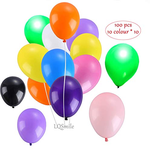 Party Balloons 10 Inches Rainbow Candy Color (100 Pcs), Assorted Colored Balloons Bulk Made Strong Latex Helium Air Use, Birthday, Wedding, Party, Beach, Photo Decoration Balloon. (Balloons 100) ()