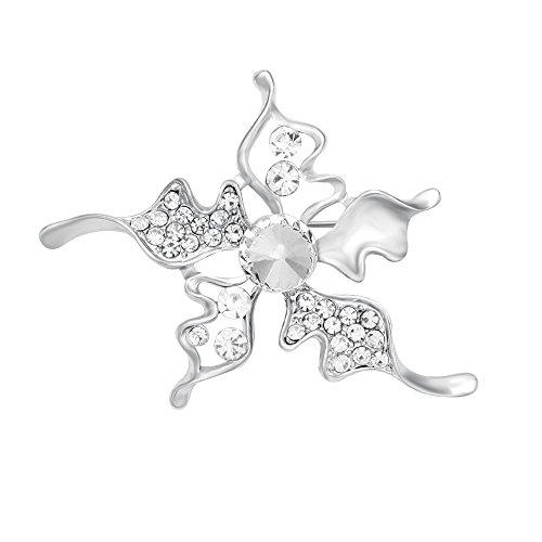 CHUANGYUN Brilliant Silver-Plated 5 Rhinestone Petals Flower Brooch(Silver) (Five Petals Rhinestone Flower)
