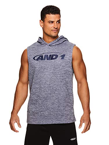 - AND1 Men's Hoodie Muscle Tank Top - Sleeveless Workout & Training Activewear Gym Shirt - Peacoat Heather Blue, Large