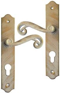 poigne de porte dentre rustique en fer forg blanc patin dor sur plaque cl