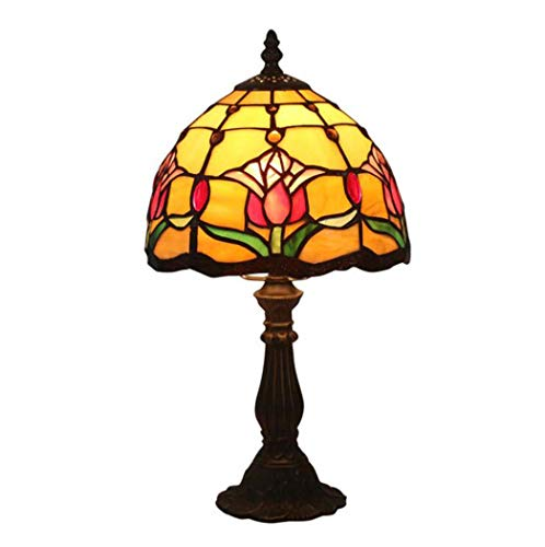 Yd&h 8-Inch Tiffany Style Table Lamp, Tulip Design Stained Glass Art Table Lamp, Bedroom Bedside Lamp Study Decoration Reading Light,E27,Max40W