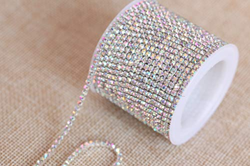 (BLINGINBOX Rhinestones Chain - 10 Yards/R 4 Sizes Crystal/Crystal AB Glass Sew On Rhinestones Cup Chain With Silver/Gold Button Sew On TrimCrystal-(ss12-3mm, Crystal AB-Silver Bottom))