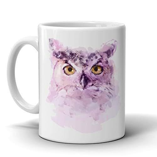 Amazon.com: Owl Coffee Mug - Watercolor Art 11 Oz. Ceramic - Printed Cup for Tea - Perfect Gift ...