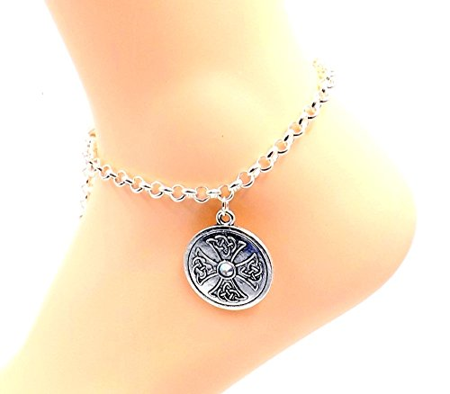 Celtic Medallion Cross Anklet - Silver-Plate Rolo Chain Ankle Bracelet-Irish Religious- Gaelic Chain Choice
