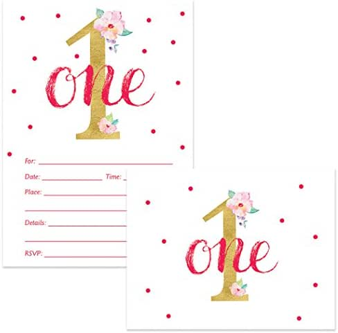Little Girl 1st Birthday Invitations & Matched Thank You Cards Set with Envelopes (100 of Each) Pink Flower Gold One Year Old Daughter Child First B'day Write-in Invites & Thank You Notes Value Pair