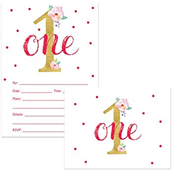 Little Girl 1st Birthday Invitations Matched Thank You Cards Set With Envelopes 100 Of