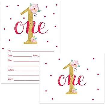 amazon com baby girl s 1st birthday invitations matching thank
