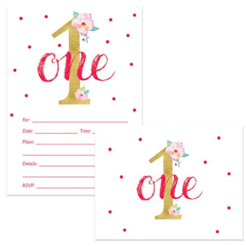 Baby Girl's 1st Birthday Invitations & Matching Thank You Cards Set with Envelopes (25 of Each) Pink & Gold Sparkly One Year Daughter's First B'day Fill-in Invites & Thank You Notes Excellent Value -
