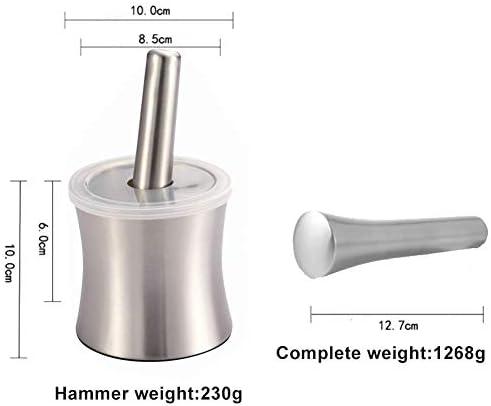 Rostfreier Stahl Mörser und Stößel rutschfeste Base-Brecher Lebensmittelsicherheit Gewürzmühle Vanille Schüssel Pesto Pulver