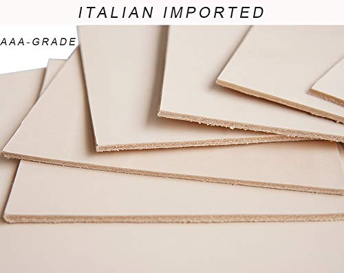 Italian Imported Firm Vegetable Tanned Full Grain Tooling Leather Thick Cowhide Handmade Stiff Leather Material for Craft/Tooling/Caving/Hobby Workshop