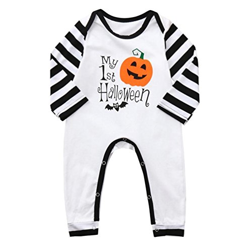 Zlolia-baby clothes Halloween Toddler Kid Baby Boys Letter Print Cartoon Romper Jumpsuit Clothes ()