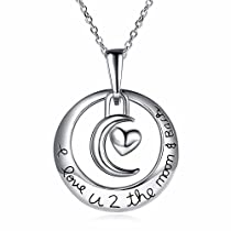 Luvalti I Love You to the Moon and Back Crescent Moon Pendant Necklace - Family & Friends Jewelry Gift