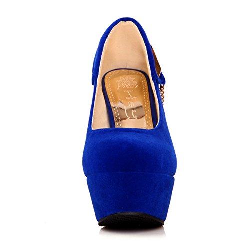 bb1bc72bed6e33 YE Damen Plateau High Heels Stiletto Pumps mit 12cm Absatz Elegant Schuhe  Blau ...