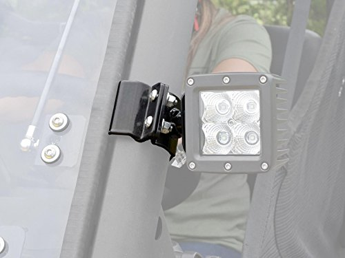 SuperATV Heavy Duty Cube and Round Light Cage Mounting Brackets for Can-Am Defender/Polaris Ranger and General (See Fitment) - Works With 3 Cube Lights or 4 Round Lights