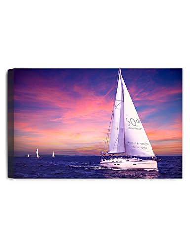 IPIC - Sailing together. Personalized Canvas Print Artwork for Anniversary and Wedding gifts; 24#P (30x20