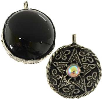 Raven Blackwood Imports Fortune Telling Toys Supernatural Protection Supplies Necklace Pentagram Black Onyx Scrying Disk