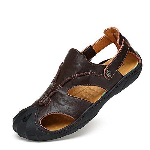 FYios Men's sandals boy drag Mens youth beach shoes,Forty-one,Dark brown (Brown Youth Dark Footwear)