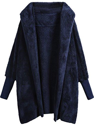 (SweatyRocks Women Khaki Hooded Dolman Sleeve Faux Fur Cardigan Coat for Winter Navy M)