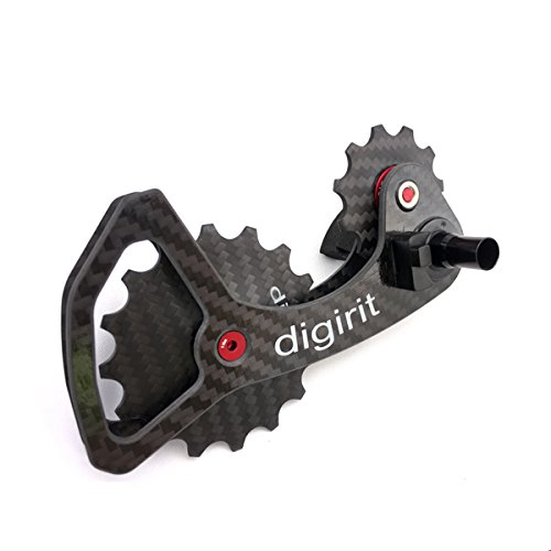 DIGIRIT SHC2 12/16T Bike Rear Derailleur Oversized Pulleys Wheel Set with Carbon Cage Alloy Pulley Stainless Bearings for Shimano Dura Ace 9100 9150 8000 ()