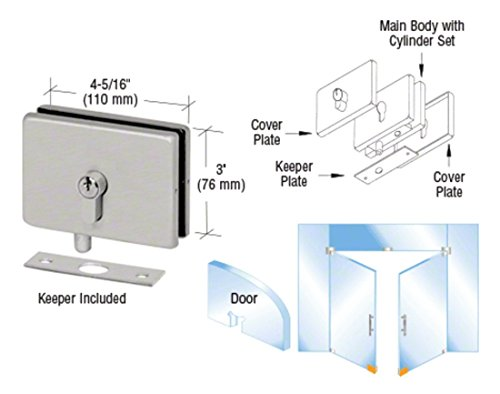 CRL Brushed Stainless European EUR Series Glass Mounted Patch Lock With Keeper Plate by CR (Glass Mounted Patch Lock)