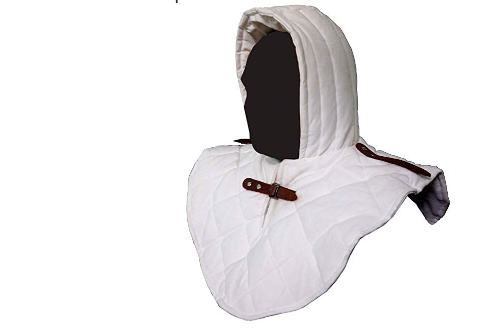 Renaissance Medieval SCA Padded White Cotton Armor Coif and Buckle Cowl Collar - DeluxeAdultCostumes.com