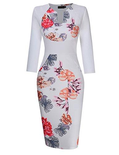 GloryStar Women's 3/4 Sleeve Deep V Neck Floral Print Cocktail Party Pencil Dress (XL, - Jacket Elegant Dress