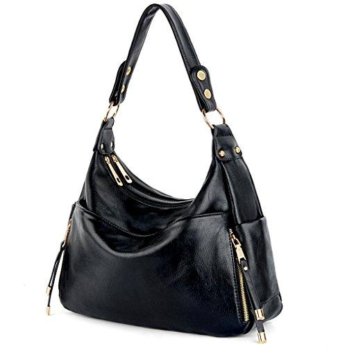 UTO Women Handbag PU Leather Front Zipper Purse Hobo Style Shoulder Bag Brown