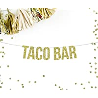 Taco Bar Gold Glitter Party Banner || fiesta tequila theme