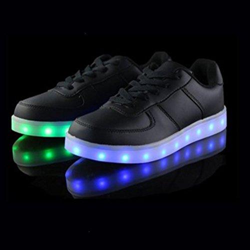 (Presente:pequeña toalla)JUNGLEST® LED Light 7 color Shoes zapatillas para hombre USB carga de techo luces intermitentes de calzado de deportes zapati c14
