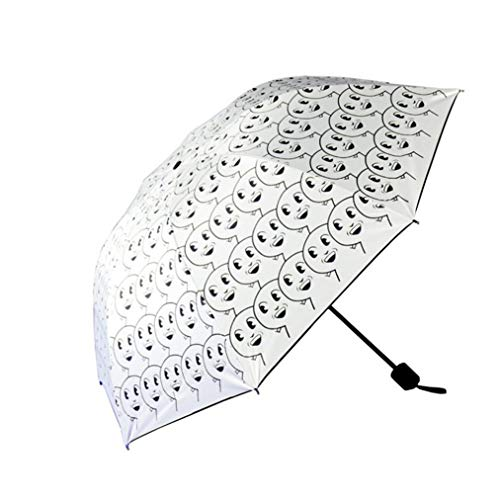 Spbamboo Folding Rain Windproof Sunshade Umbrella Anti-UV Sun/Rain Funny Umbrella (White) by Spbamboo