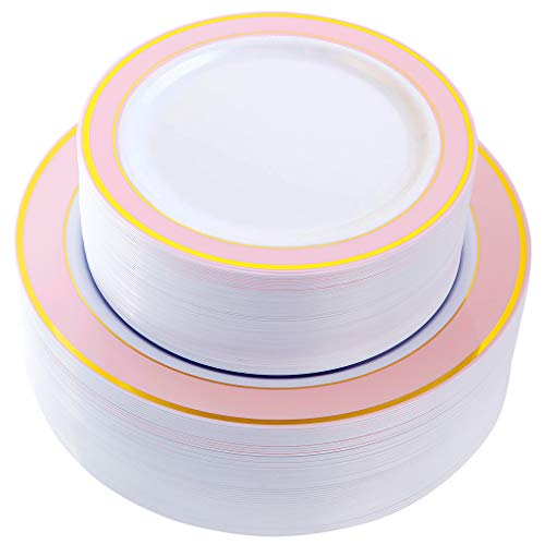 NERVURE 102 PCS Pink with Gold Rim Disposable Plates-Wedding and Party Plastic Plates Include 51PCS 10.25inch Dinner Plates And 51PCS 7.5inch Dessert/Salad Plates - Value Pack 102 Count(Pink) -