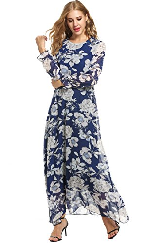 Zeagoo Women Chiffon O-Neck Long Sleeve Floral Print Long Maxi Party Beach Dress (Large, Blue)