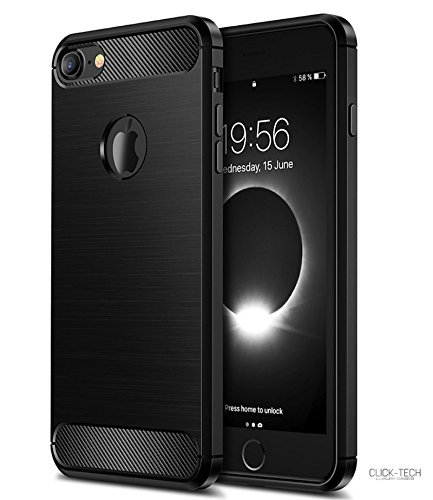Cover Click (iPhone 8 Case/iPhone 7 Case Click-Tech Elegant Black Carbon Fiber Shock Absorption Shockproof Flexible case TPU Full Protective Scratch Resistant Cover for Apple iPhone 8 Case 2017 and 2018)