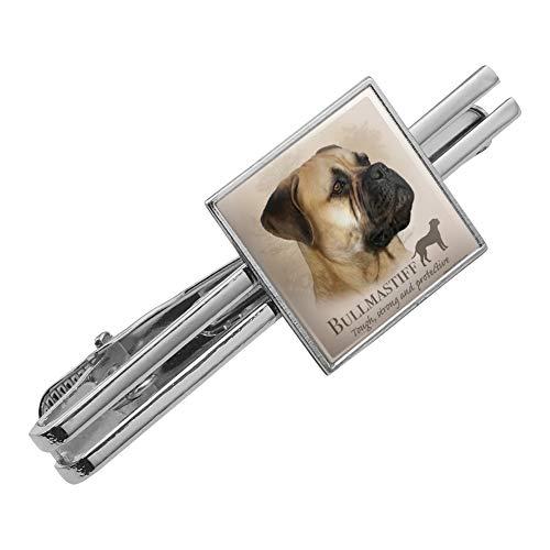 Graphics and More Bullmastiff Dog Breed Square Tie Bar Clip Clasp Tack Silver -
