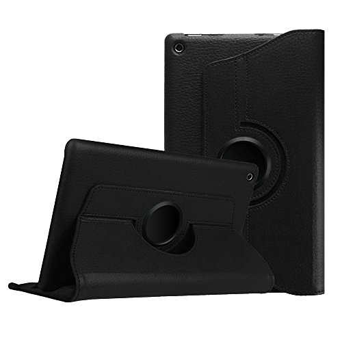 Price comparison product image For Kindle Fire HD 8, AMA(TM) 360 Rotating Leather Shell Stand Case Cover for Amazon Kindle Fire HD 8 Inch Tablet (2015 Edition) (Black)