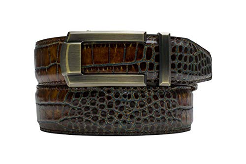Nexbelt Rowland Thomas Kayiman Brown Crocodile Print Leather Dress Belt