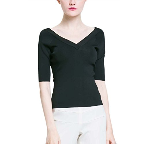 BeMoreWithLess Women's 3/4 Sleeve Off Shoulder Soft Stretch Fitted ()