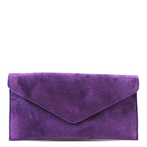 (Womens Ladies Real Suede Leather Envelope Clutch Evening Shoulder Chain Bag (Purple))