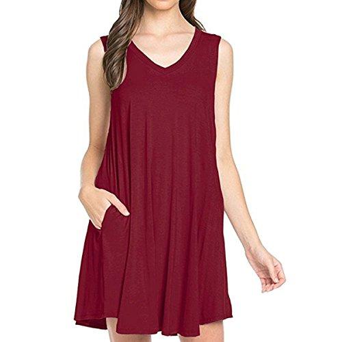 Dress Sleeveless Pockets T V With Loose Neck Red Swing Cekaso Wine Women's Shirt Dress Tank qEwx4Y5n1
