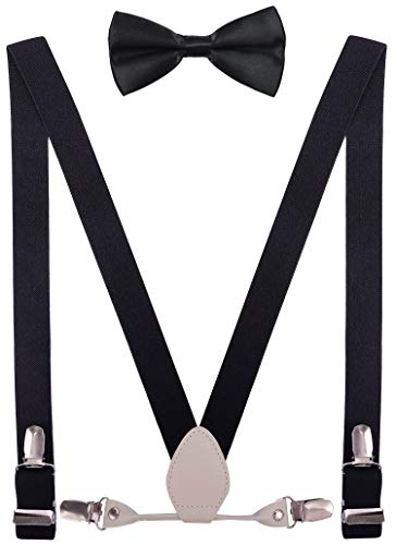 YJDS Boys Leather Suspenders and Bowtie Set Elastic for Wedding Black 30''