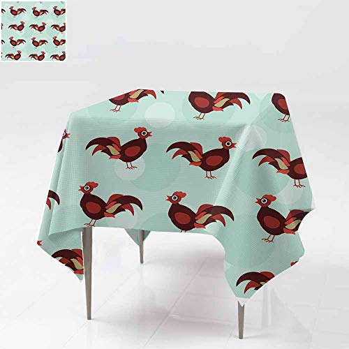 - Fbdace Stain Resistant Square Tablecloth,Seamless Pattern with Funny Cute Rooster Bird on Blue Background High-end Durable Creative Home 70x70 Inch