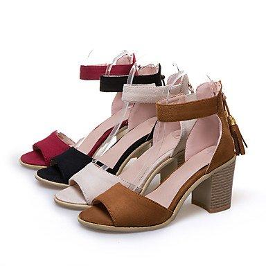 LvYuan Tacón Robusto-D'Orsay y Dos Piezas Gladiador Zapatos del club-Sandalias-Vestido Informal Fiesta y Noche-Semicuero-Negro Amarillo Rojo Red