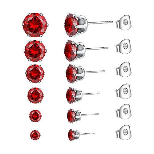 Ear Stud JETO Stainless Steel Ear Stud Piercing Studs EarringsFor Women/Men Ear studs Round Cubic Zirconia Inlaid