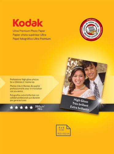 Kodak High-Gloss Ultra-Premium Photo Paper, 4 x 6 Inches, 20 Sheets per Pack (8777757), Office Central