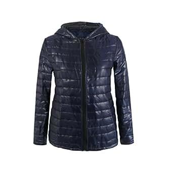 GREFER New Women Long Sleeve Winter Hooded Coat Zipper
