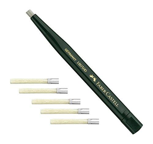 Faber-Castell 180300 – Bolígrafo Giratorio Con Borrador De Cristal, Color Verde Y 5 Minas De Repuesto 180600